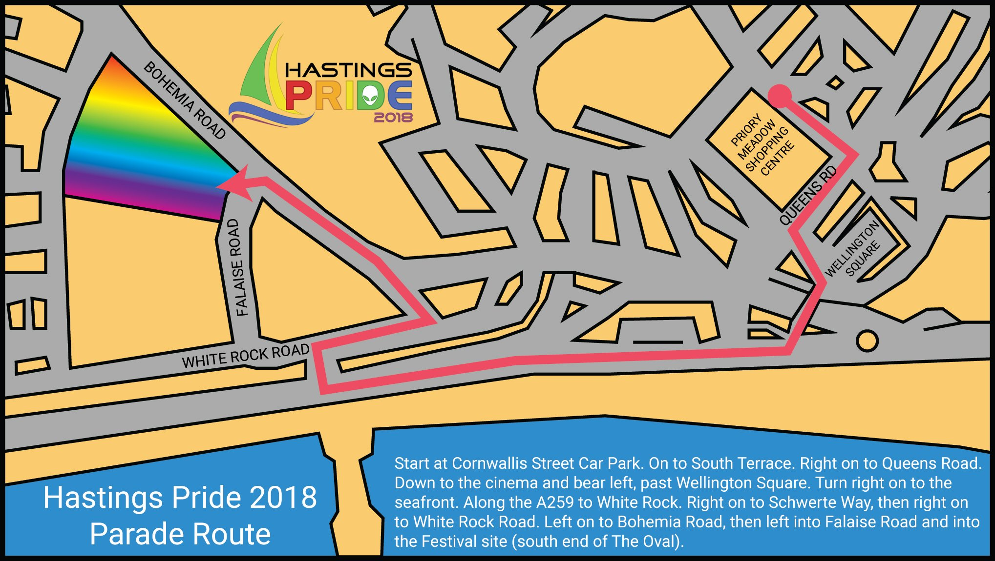Hastings Pride 2018 Parade Route