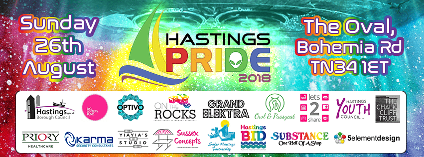 Hastings Pride with sponsors